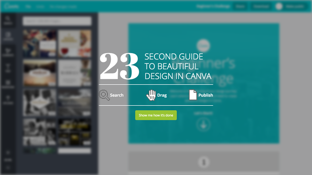 Canva 23 second guide video guide for new user onboarding