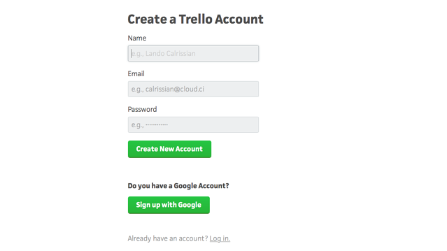 Trello sign up page