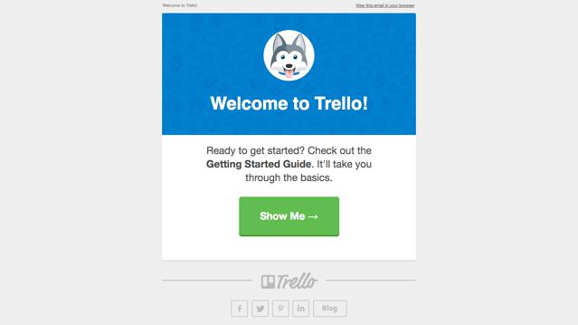 Trello welcome onboarding email 1