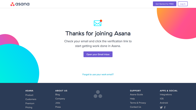 Asana welcome message