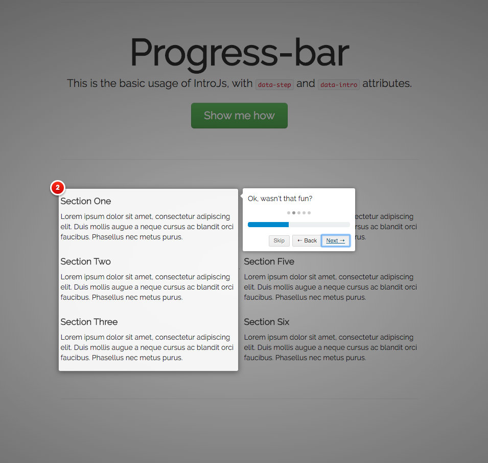 progress bars onboarding