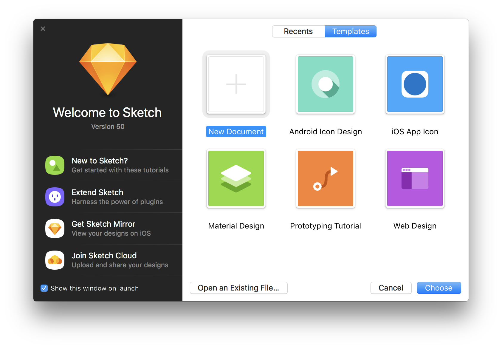 A screenshot of Sketch's welcome modal