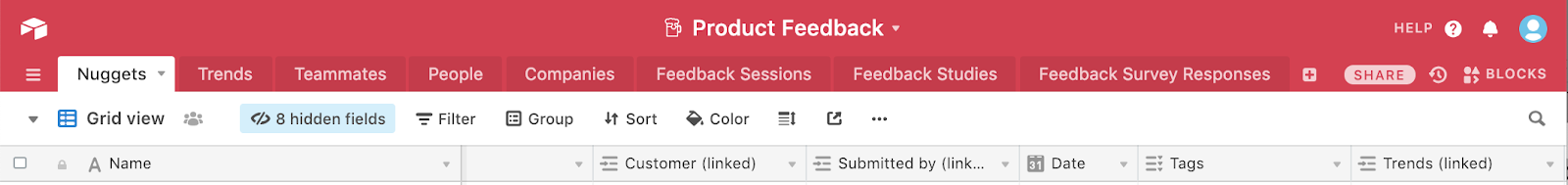 This is an example of an Airtable base (called product feedback) with multiple sheet tabs. This is an example ofa product design team data collection tool.