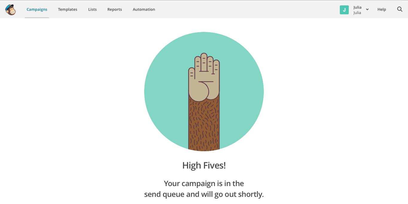 MailChimp High Fives celebration