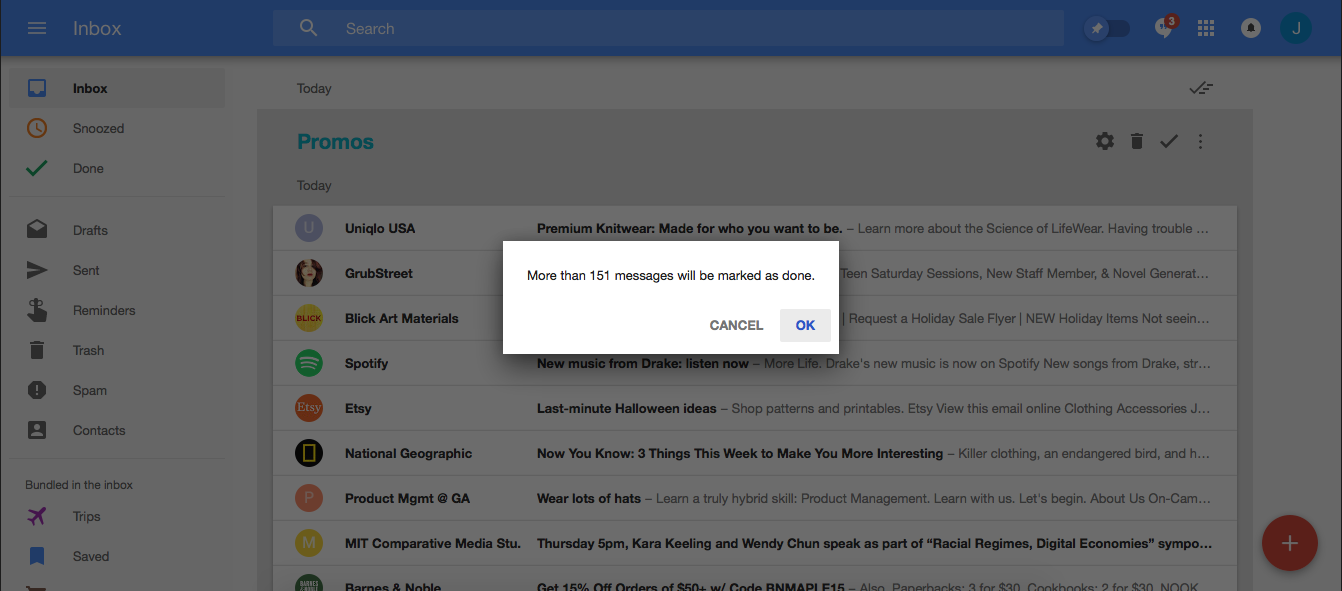 Google Inbox mark as done motivation