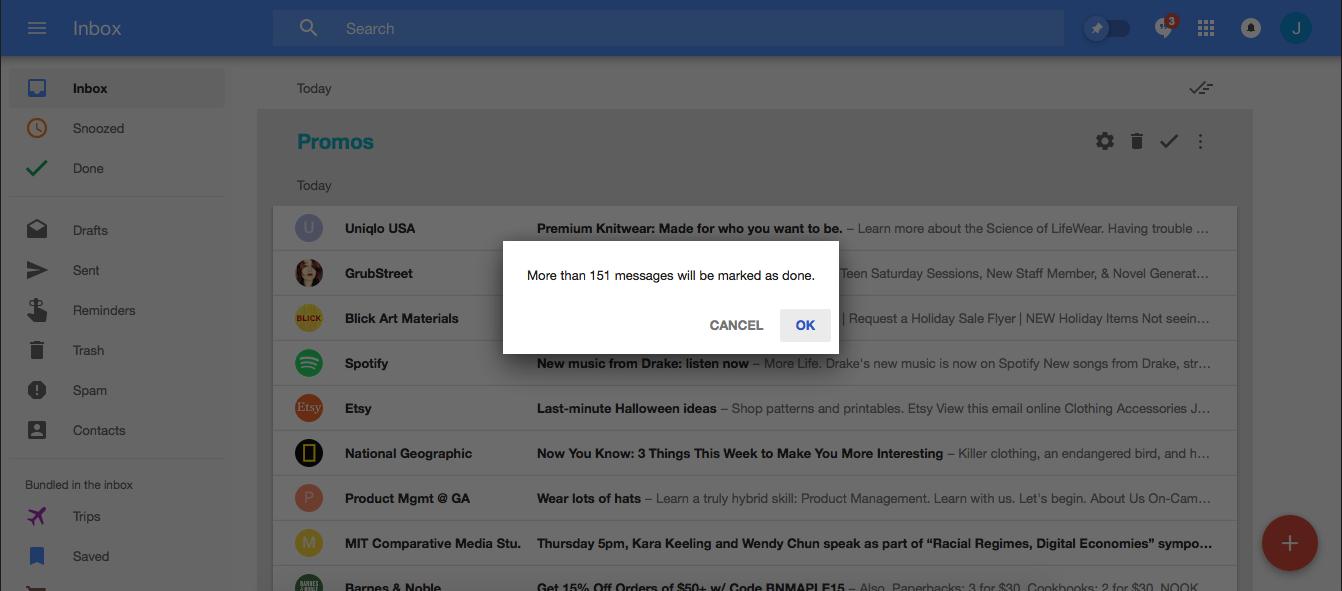 Google Inbox mark as done motivation