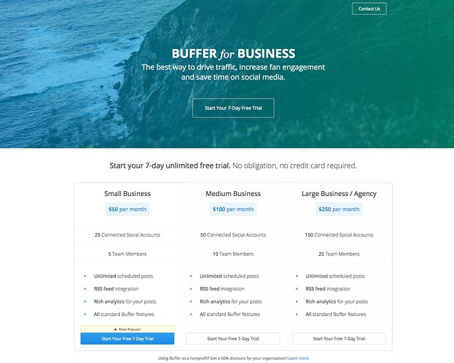 Buffer for business pricing page