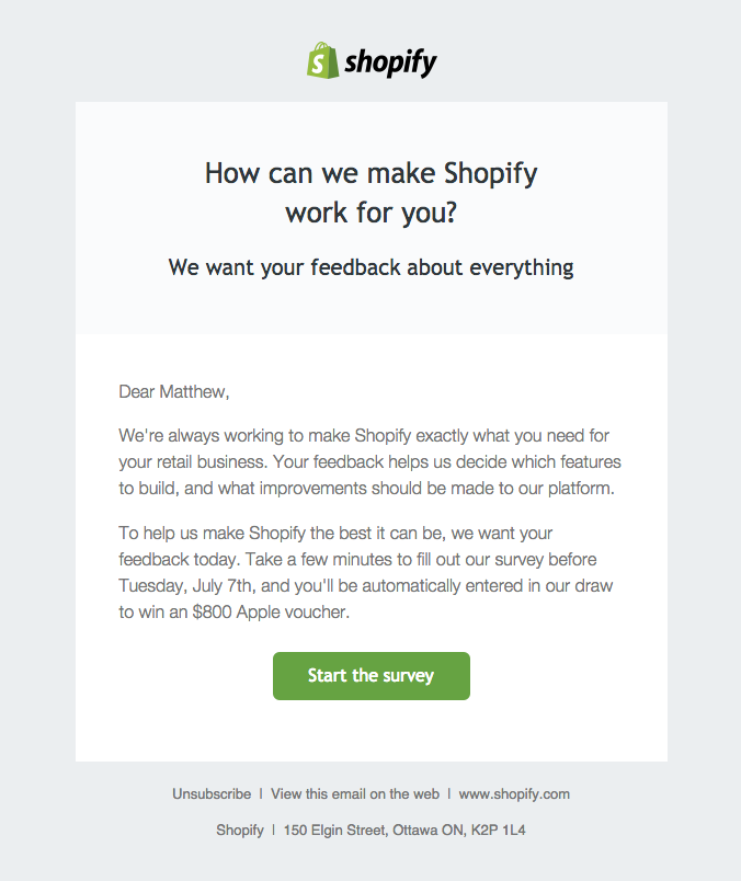 shopify email asking for user feedback