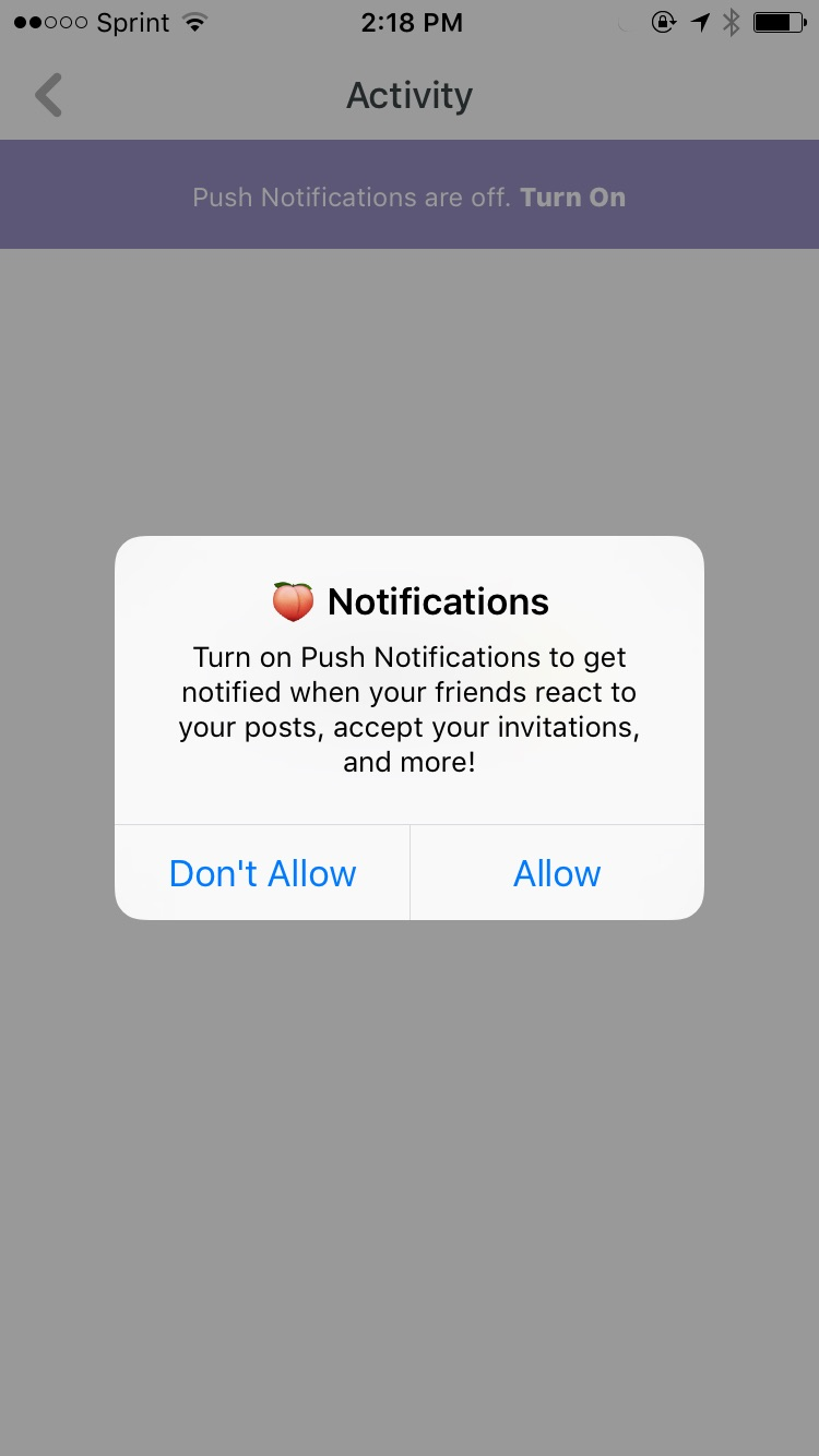 push notification permission priming example from peach mobile app
