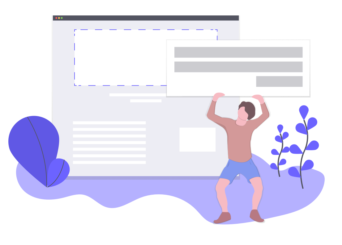 This is an illustration of a man holding up a giant UI element while a screen hovers in the background. There are purple plants in the foreground. This represents the changing nature of UI and UX patterns.