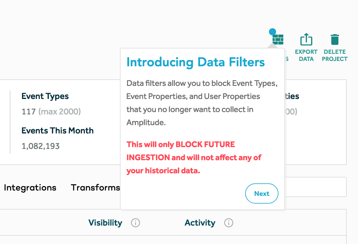 "This is a screenshot of a good new feature release tooltip example from Amplitude. It shows a tooltip pointing to a new feature and the tooltip says ""Introducing Data Filters."" It then explains the new feature and, in red text, explains how it will and won't affect users. There is a round next button in the bottom right corner."