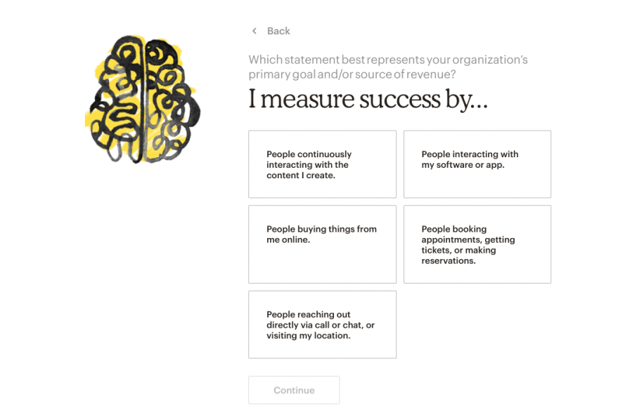 "This is a screenshot of Mailchimp's onboarding flow showing personalization in onboarding. It shows an illustration of a brain colored in with yellow and the personalization prompt ""I measure success by..."" followed by 5 answers."