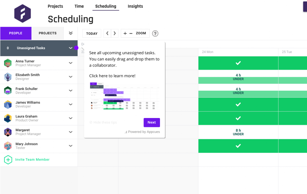 this is an image from forecast pm tool that shows a tooltip made with appcues. this is an example of a product tour with tooltip and hotspot ui patterns