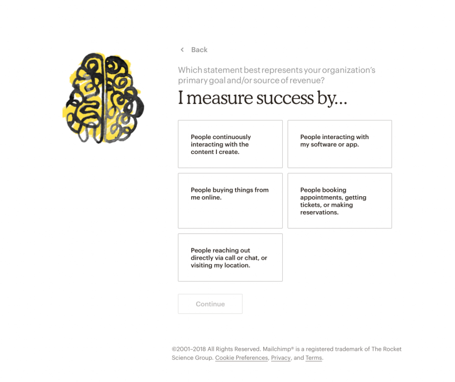 "this is an image from mailchimp's new user onboarding sequence showing customization questions and self-directed branching flow that funnels new users into personalized experinces based on self selected use case. it shows an illustration on the left in mailchimp's style, and on the right are 5 options and the prompt ""i measure success by..."""