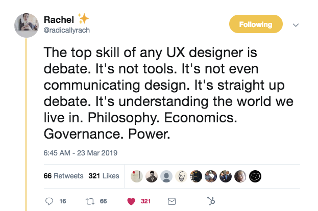 this is a tweet from @radicallyrach about the top skills ux designers need. the author argues that the most important skill for ux designers is debate.