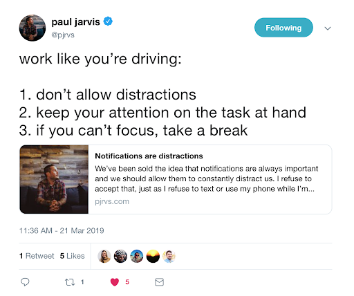 this is a tweet from @pjrvs about single-tasking aka working on one thing at a time and taking a break when you lose focus