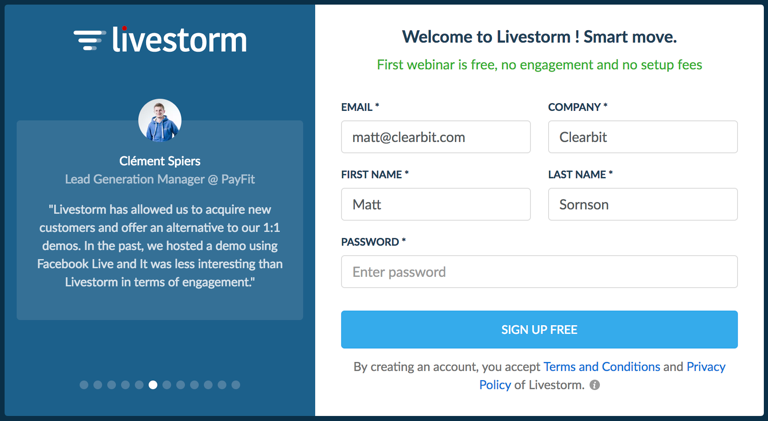 this is an image of a signup form with only a few fields that are autofilled by pulling user data from clearbit. There is a signup form with personalization on the right and a customer testimonial with headshot and company logo on the left.