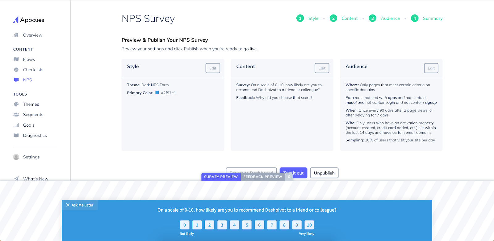 this is a screenshot of sitemate's dashpivot nps survey setup made using appcues. this shows appcues' dashboard with available tools including nps surveys. users can create nps survey on this page.
