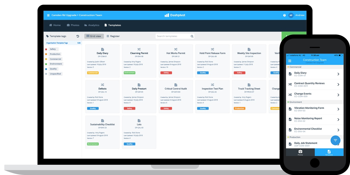 this is an image of Sitemate's Dashpivot project management software platform on both desktop and mobile