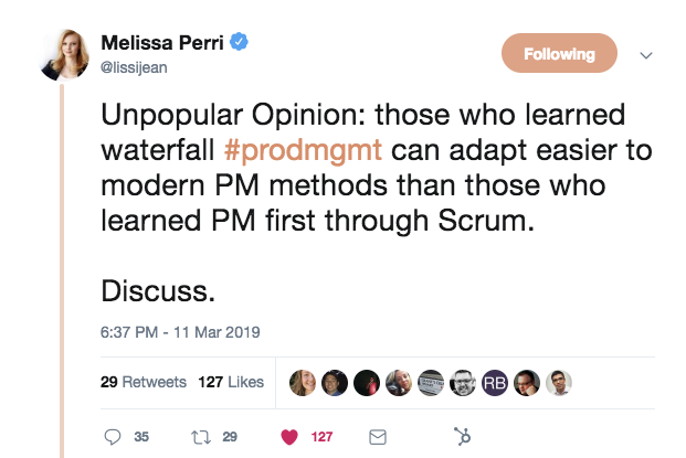 this is a screenshot of a tweet about #prodmgmt (product management) methods. This tweet from melissa perri talks about waterfall method vs scrum.