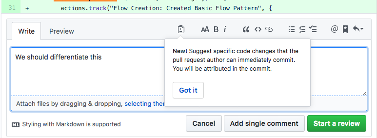 "this is an example of a new feature announcement tooltip from github that is used to address feature blindness. the tooltip says ""new!"" and explains how the feature works. there is a CTA that says ""got it"""