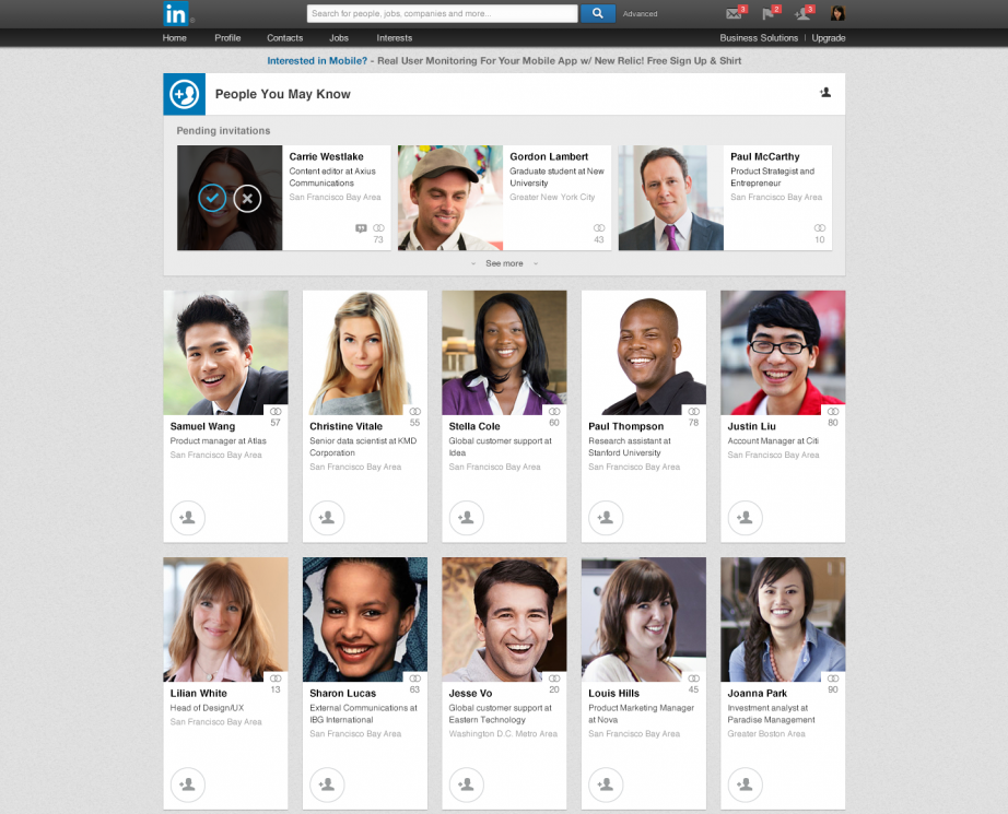 this is a screenshot image of linkedin's people you may know page, which serves as a retention hook to re-engage inactive users via active users