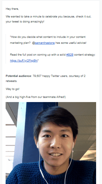 this is an example of a customer re-engagement email from buffer that celebrates customer success