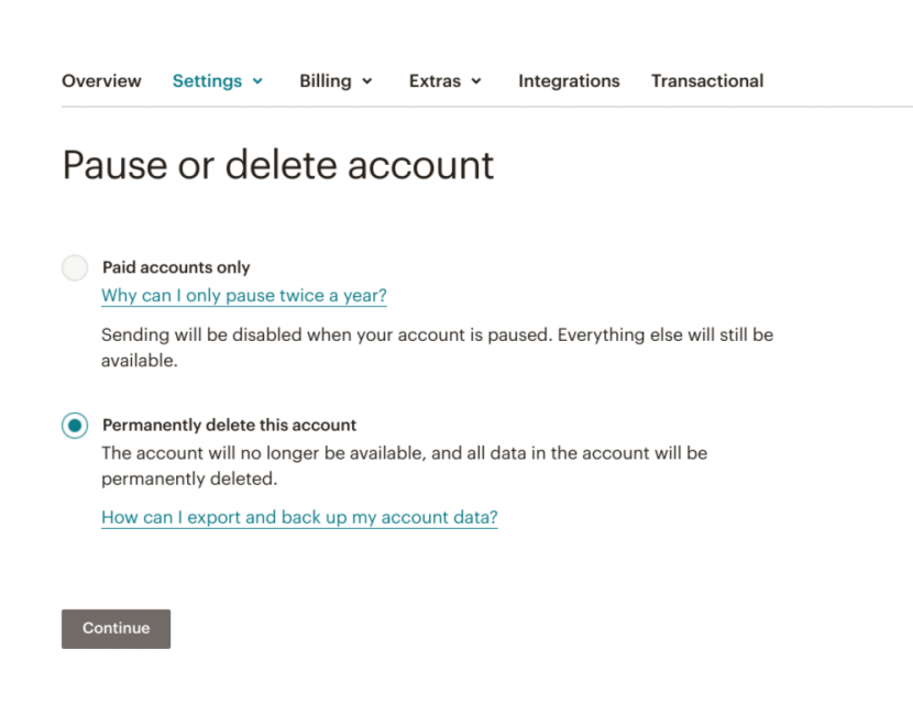 this is a screenshot image from mailchimp's account cancellation flow that shows 2 options: pause or delete account