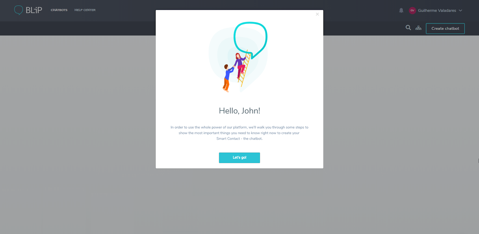 this image shows a welcome modal window made with appcues against a greyed out interface that says hello, john and includes a call to action button and ux copy