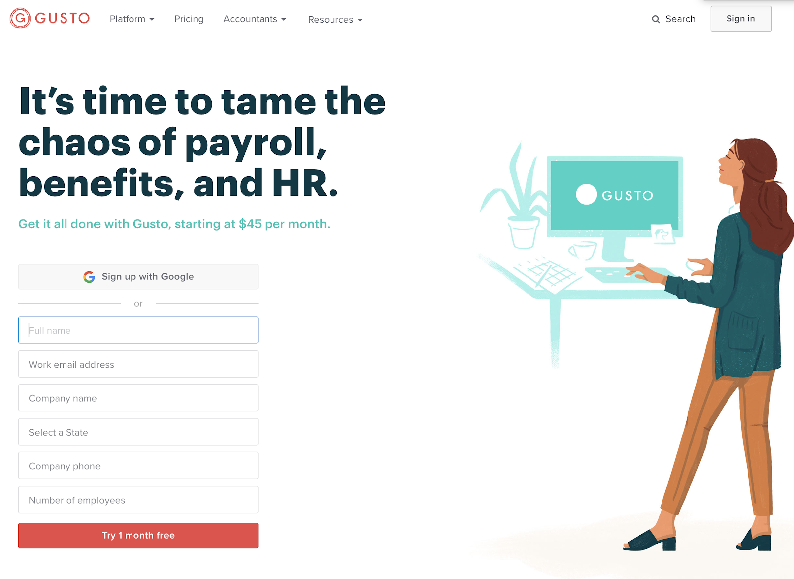 this is a screenshot image of hr platform gusto's marketing homepage. on the left is an illustration of a woman at a desktop computer, on the right is a large header and signup form with single signon button