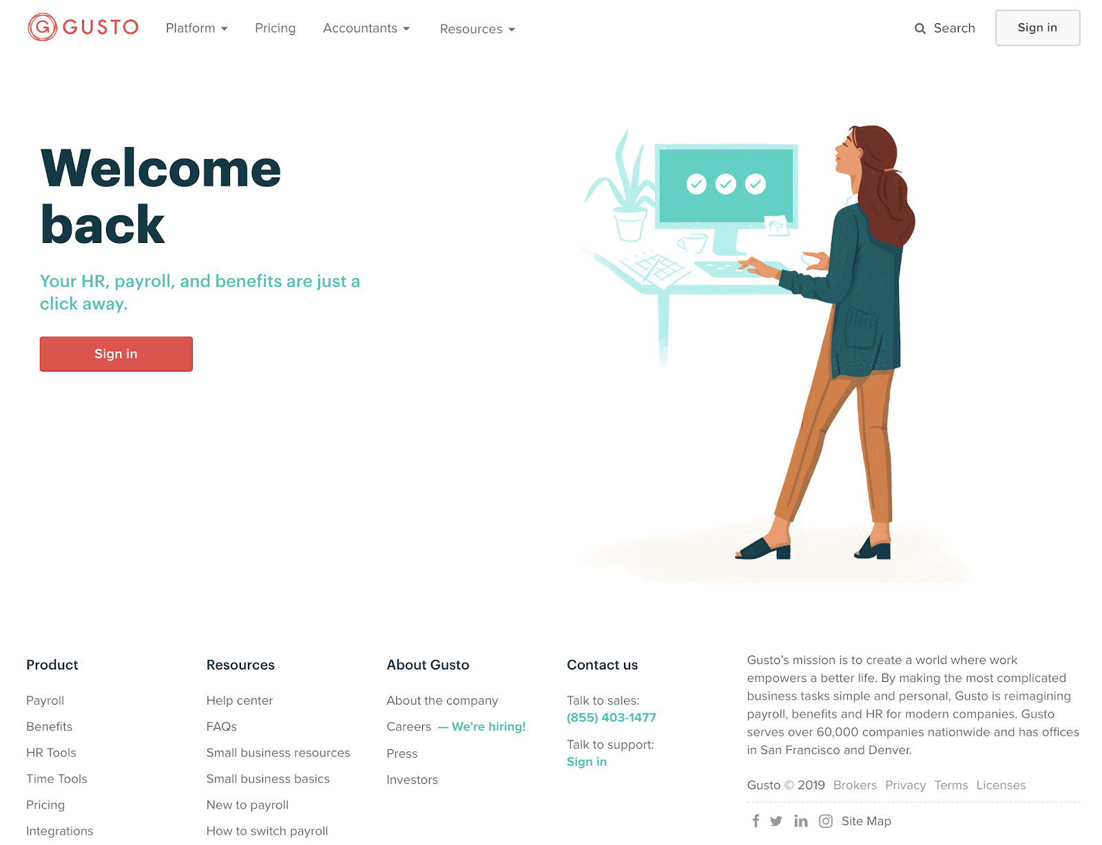 this is a screenshot image of hr platform gusto's marketing homepage. on the left is an illustration of a woman at a desktop computer, on the right is a large header that says welcome back and a sign in button