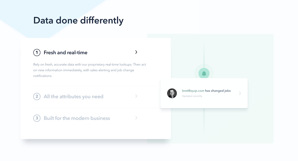 "this is a screenshot image of clearbit's marketing site. the header reads ""data done differently"" and there are 3 bullet points with marketing copy"