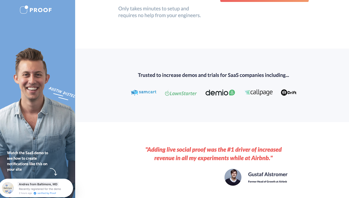this is a screenshot image of proof's social proof page for SaaS companies that shows SaaS company logos and testimonials