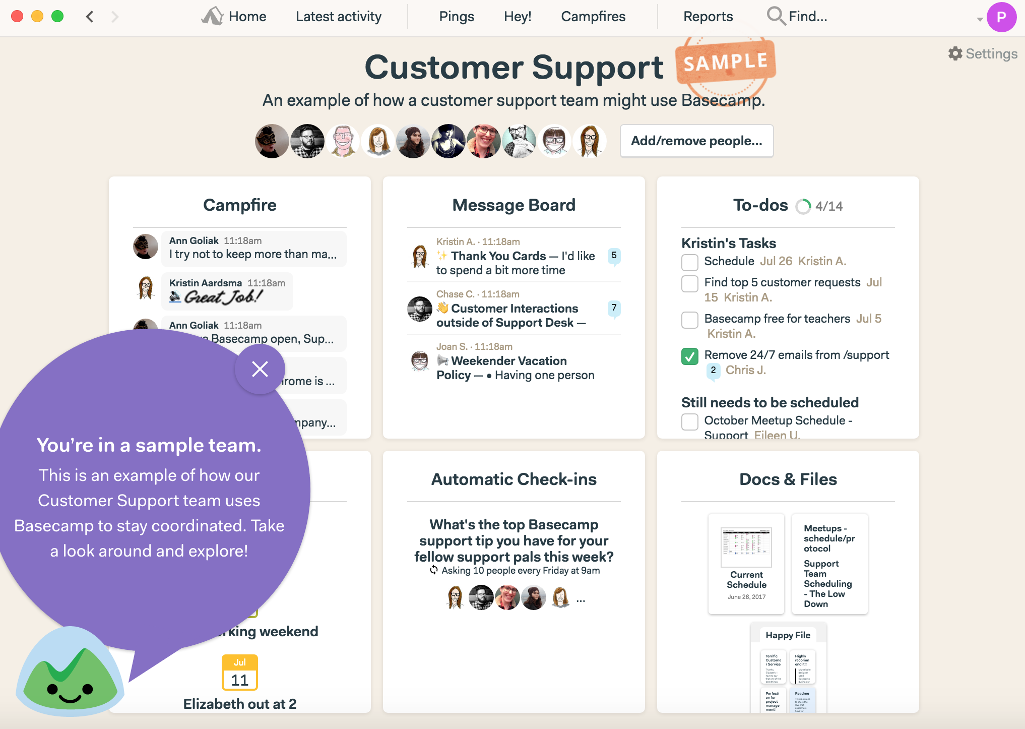 this is a screenshot image of basecamp's sample base that demonstrates value and guides users toward their activation event