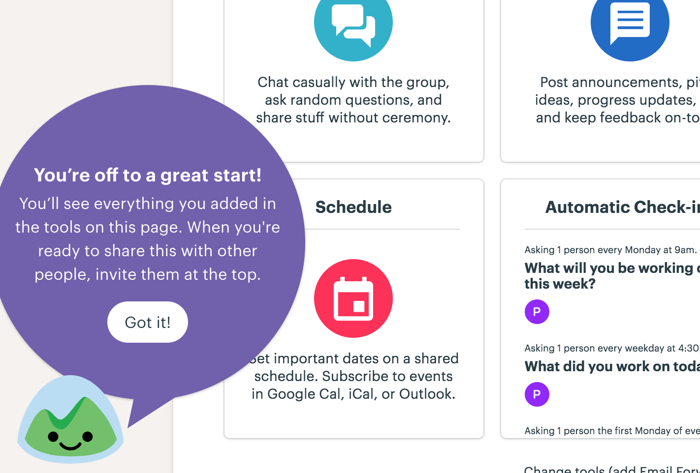 this is a screenshot image of basecamp's sample base that demonstrates value and guides users toward their activation event. this screenshot image focuses on basecamp's mascot and tooltip