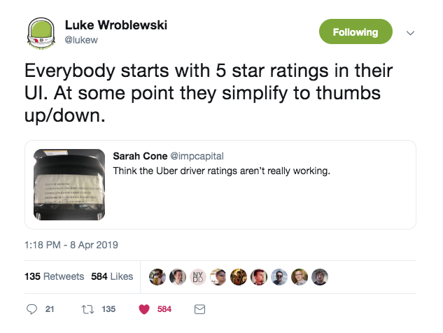 this is a tweet from luke wroblewski, the product director at google, about stars vs thumbs up/down rating systems. It reads: everybody starts with 5 star ratings in their UI. at some point they simplify to thumbs up/down.