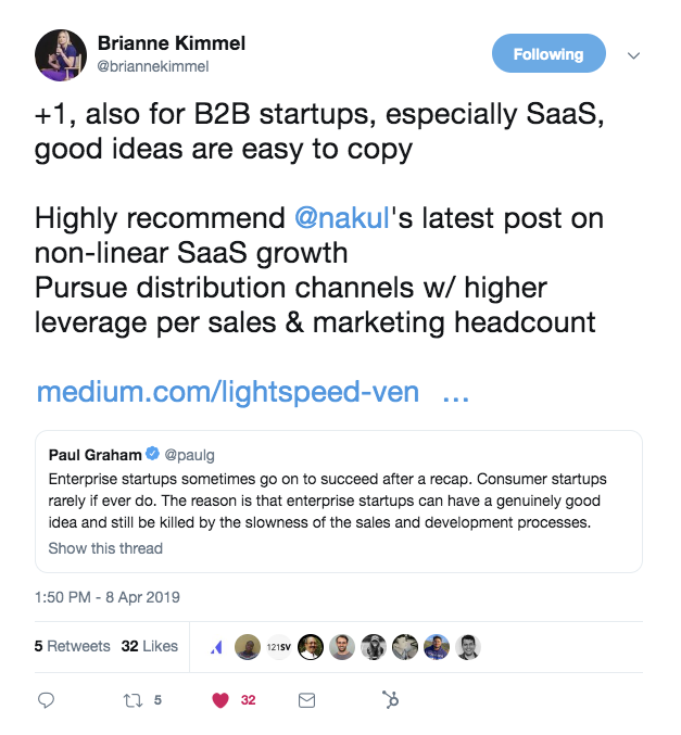 this is a tweet from brianne kimmel, a startup investor, about slow sales and development killing b2b SaaS startups