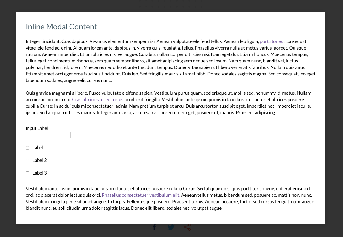 this is a screenshot image of a modal window with lorum ipsum. this is an example modal from a plugin that is designed for accessibility. this is an example of a WCAG 2.0 Level AA accesible modal popup window plugin that is free to use