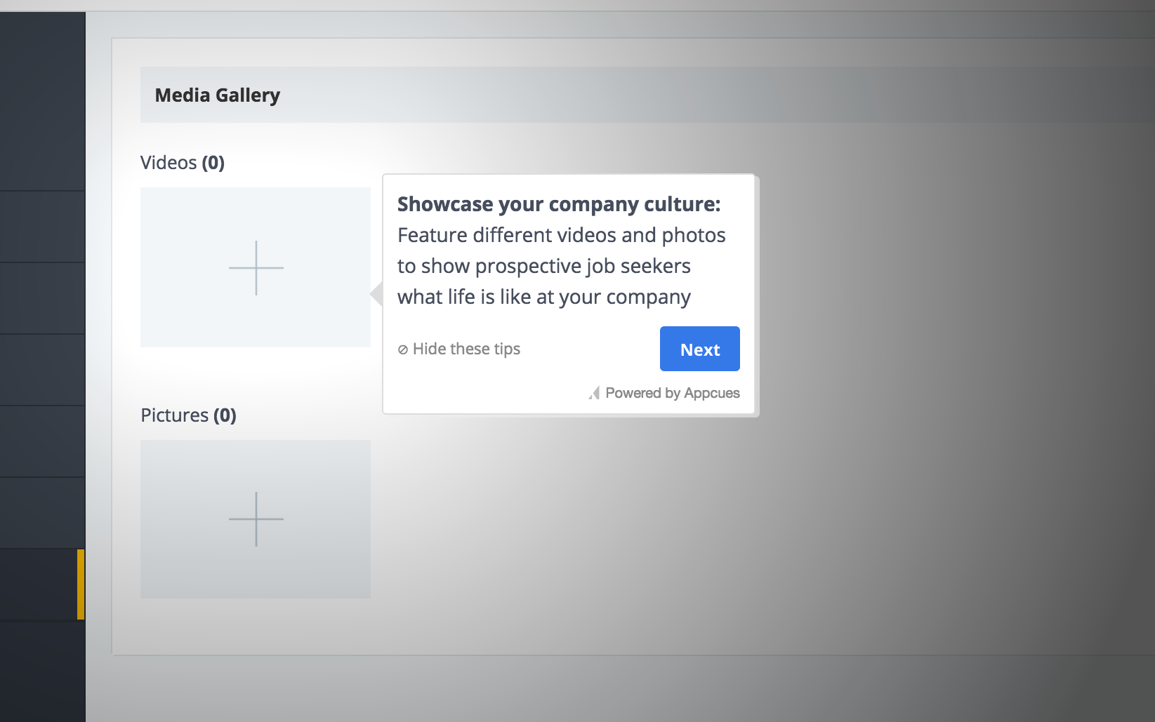 this is a screenshot image of a product tour tooltip from comparably. the tooltip is white with a blue CTA button. the header image reads: showcase your company culture. The tooltip points to an empty field