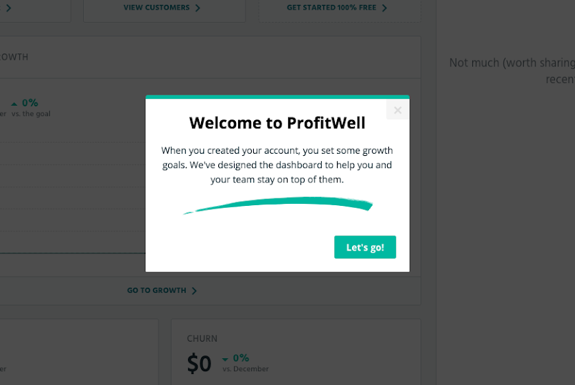 profitwell welcome modal that reinforces the core value propostion by reminding users of their goals