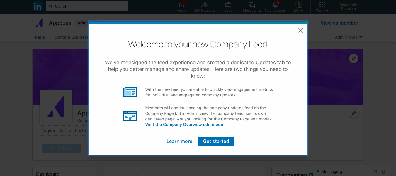 this is a screenshot image of a modal window with announcement from LinkedIn about their new company feed. there are 2 call to action buttons