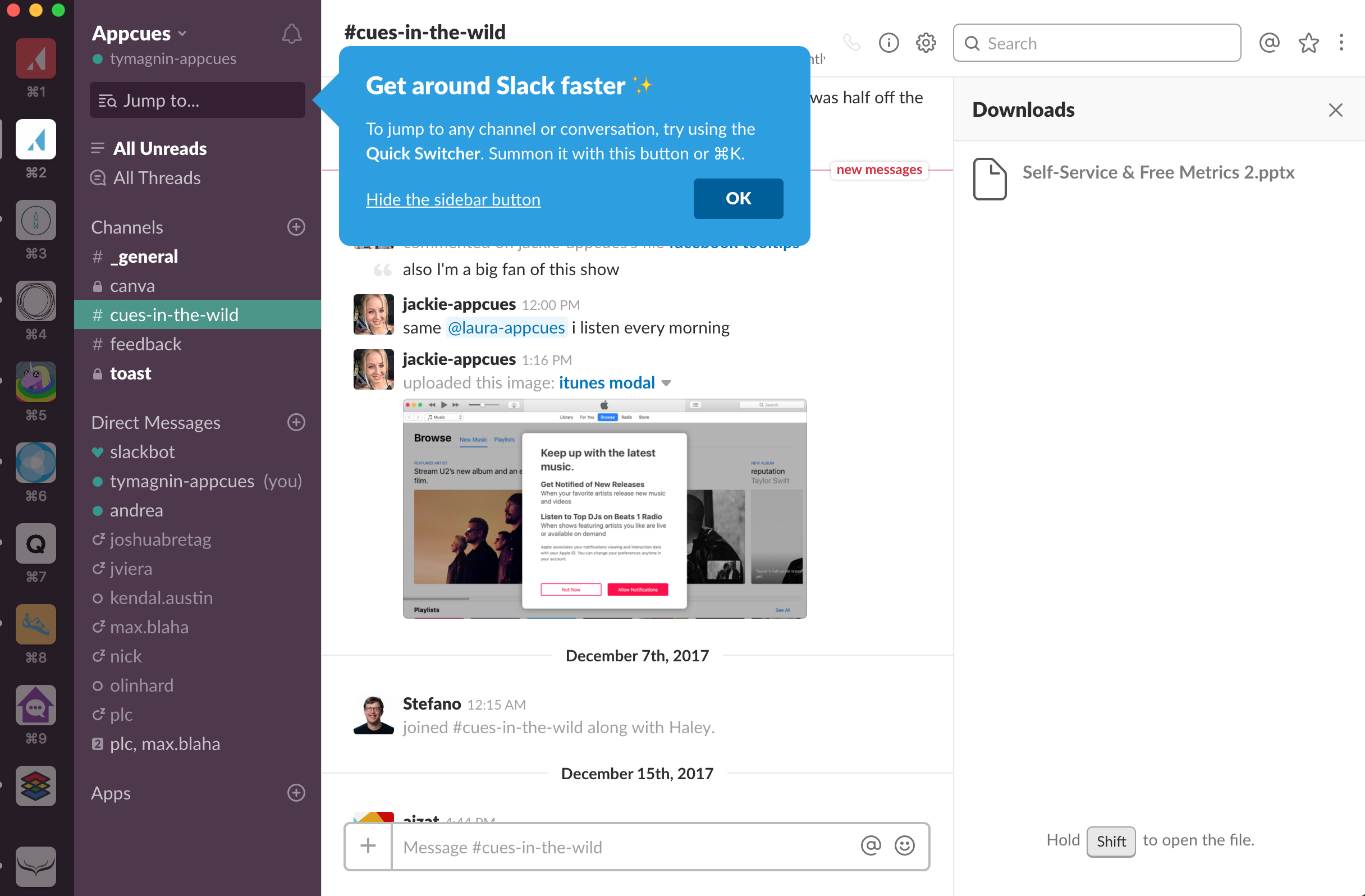 slack tooltip new feature announcement in-app example