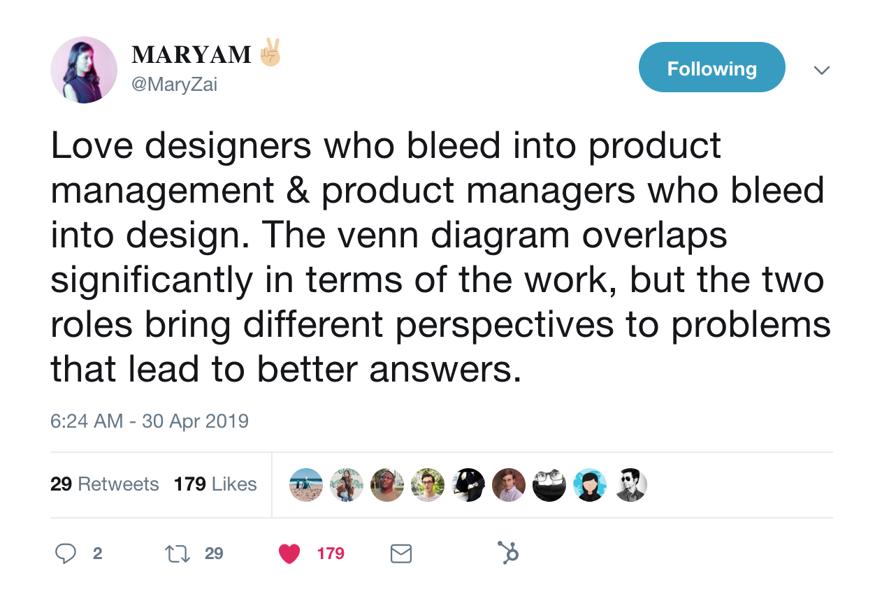 this is a tweet from maryzai about the intersection of ux design and product managers