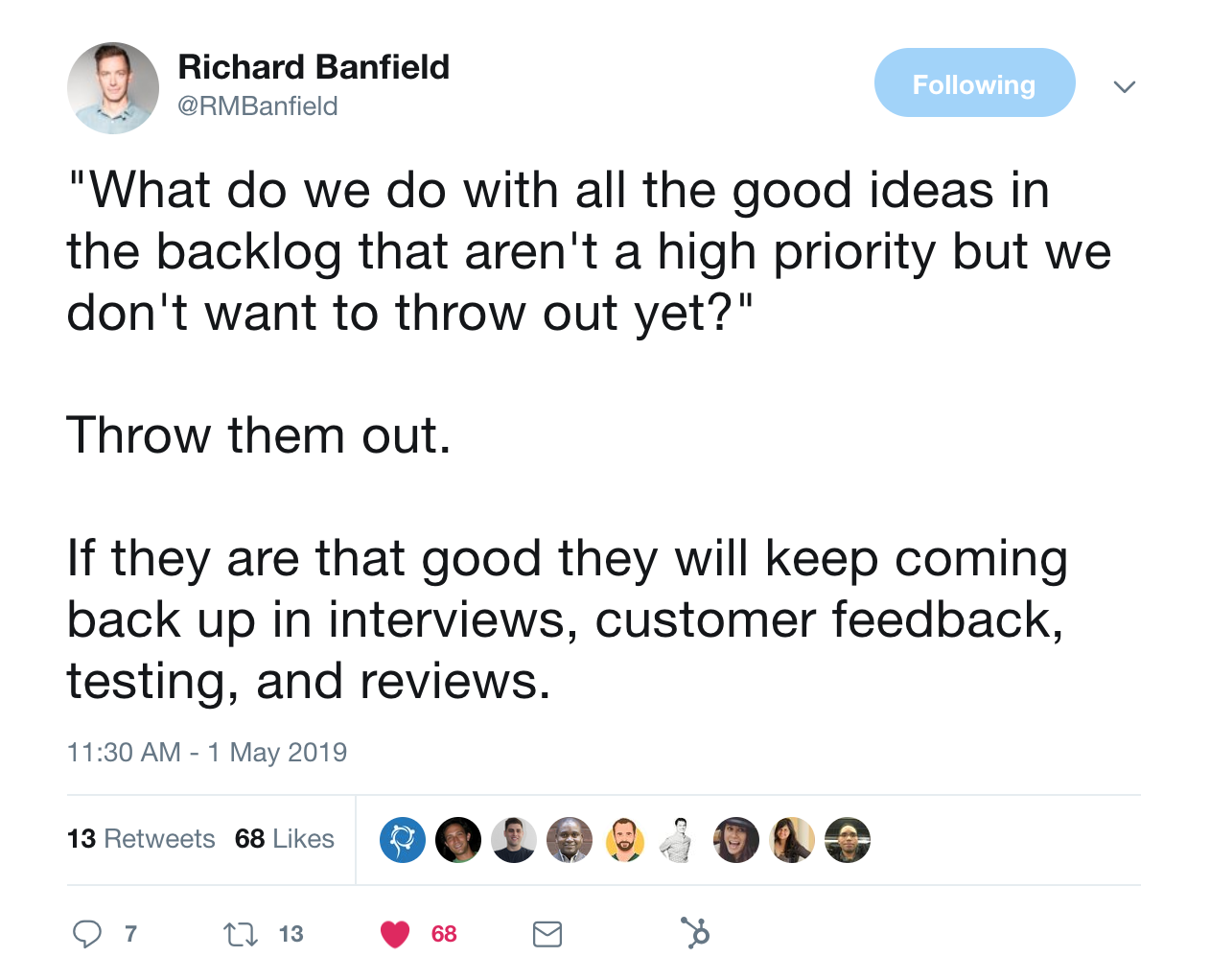 this is a tweet from richard banfield about what to do with good ideas that are kept on the backburner