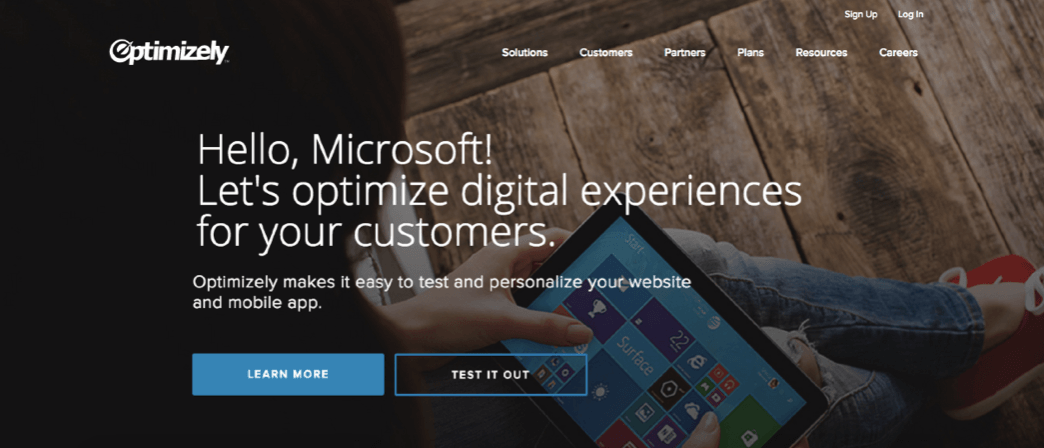 this is a screenshot image of optimizely's marketing website landing page with 2 call to action buttons and personalized copy for certain companies