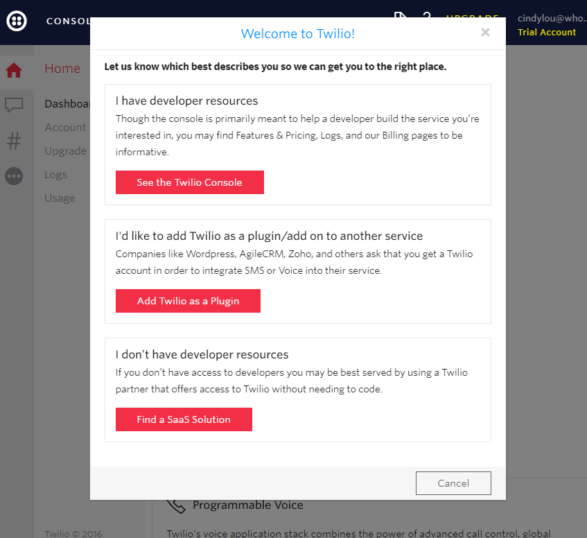 this is a screenshot image of a user onboarding welcome modal window with a self selected onboarding experience from Twilio. there are 3 options and 3 CTAs.