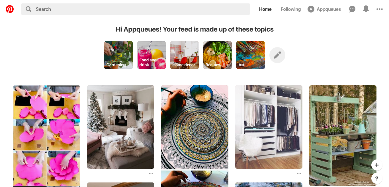 this is a screenshot image of a curated feed on pinterest to improve their customized personalized UX