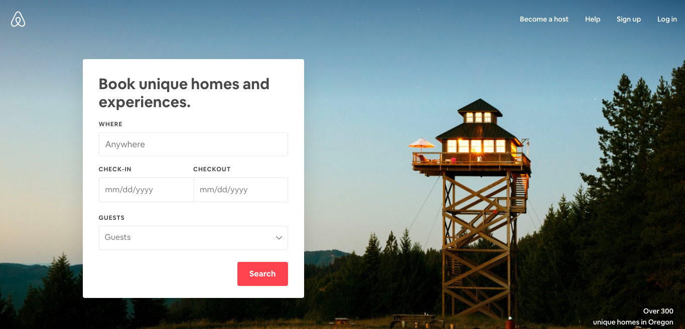 this is a screenshot image of airbnb's homepage from may 2019 that shows a form field with location and date search