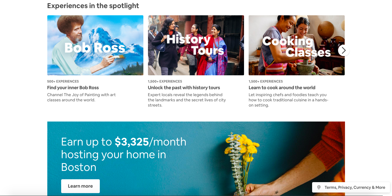 this is a screenshot image of airbnb's website showing experiences (like bob ross, history tours and cooking classes) and an advertisement banner for listing your home in boston