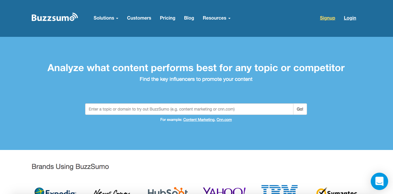 this is a screenshot image of buzzsumo's homepage with a header that reads: analyze what content performs best for any topic or competitor